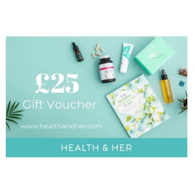 £25 gift card evoucher to spend at Health & Her online menopause experts